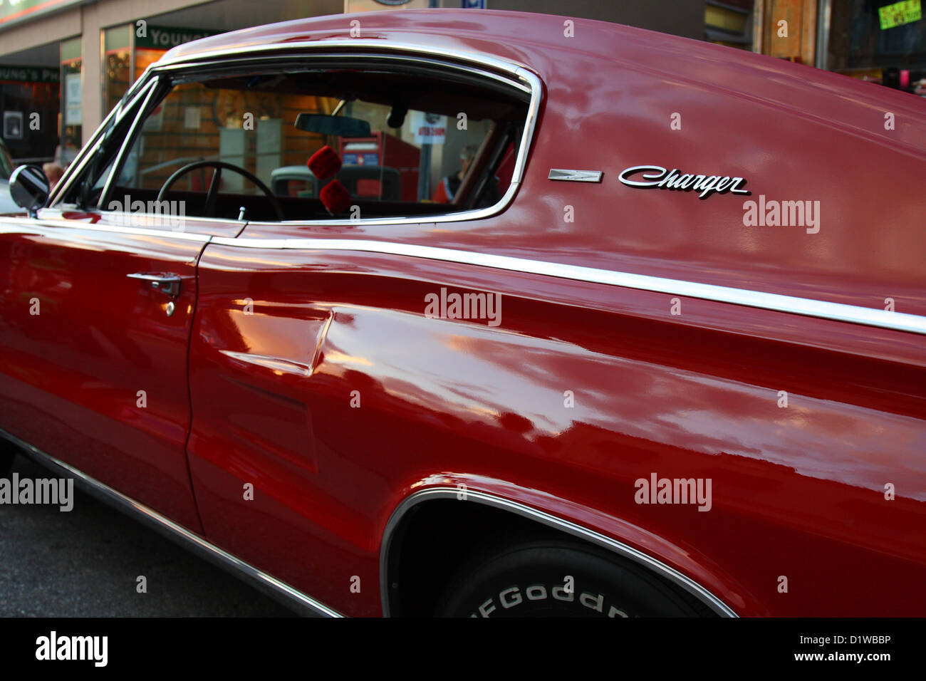 red classic charger automobile - Stock Image