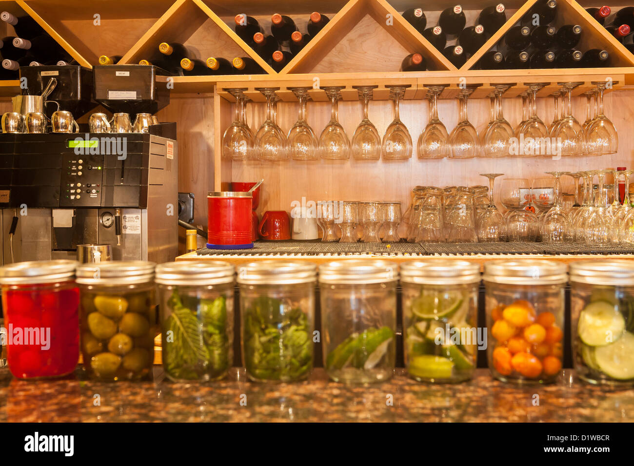 bar, Tupelo Junction Cafe, Santa Barbara, California, United States of America - Stock Image