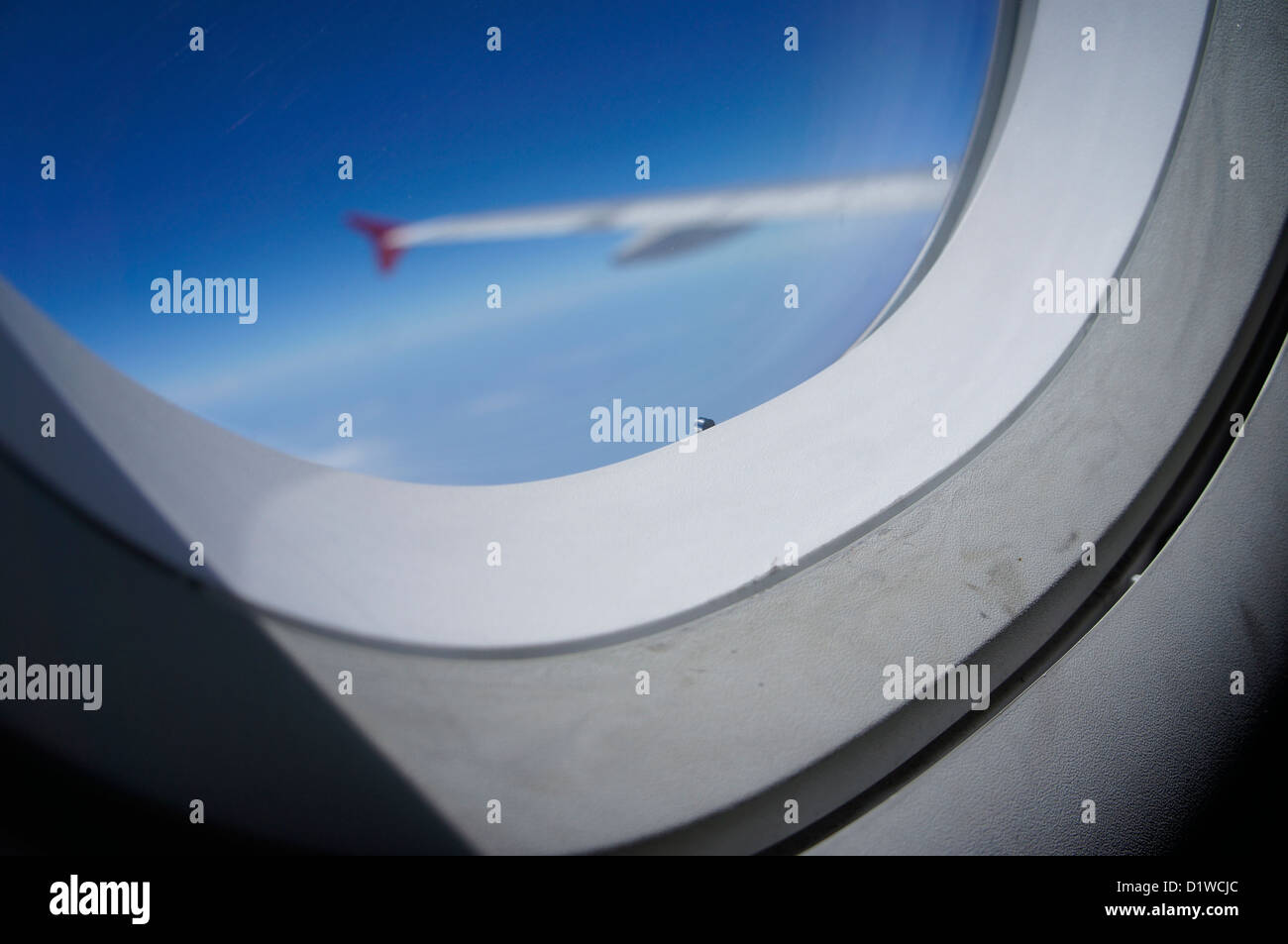 view of airplane window - Stock Image