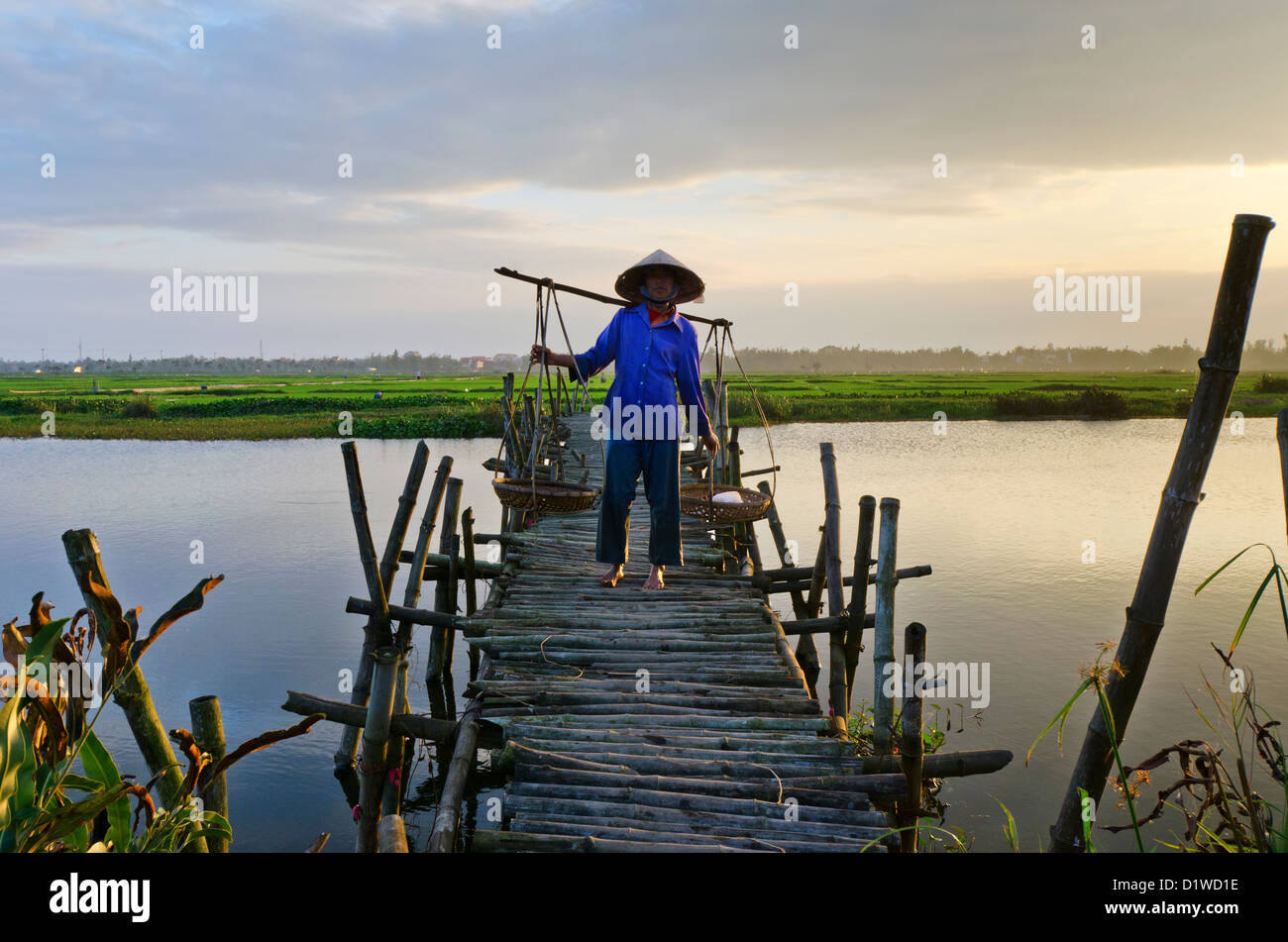 Woman carrying yoke baskets over bamboo bridge, Vietnam - Stock Image
