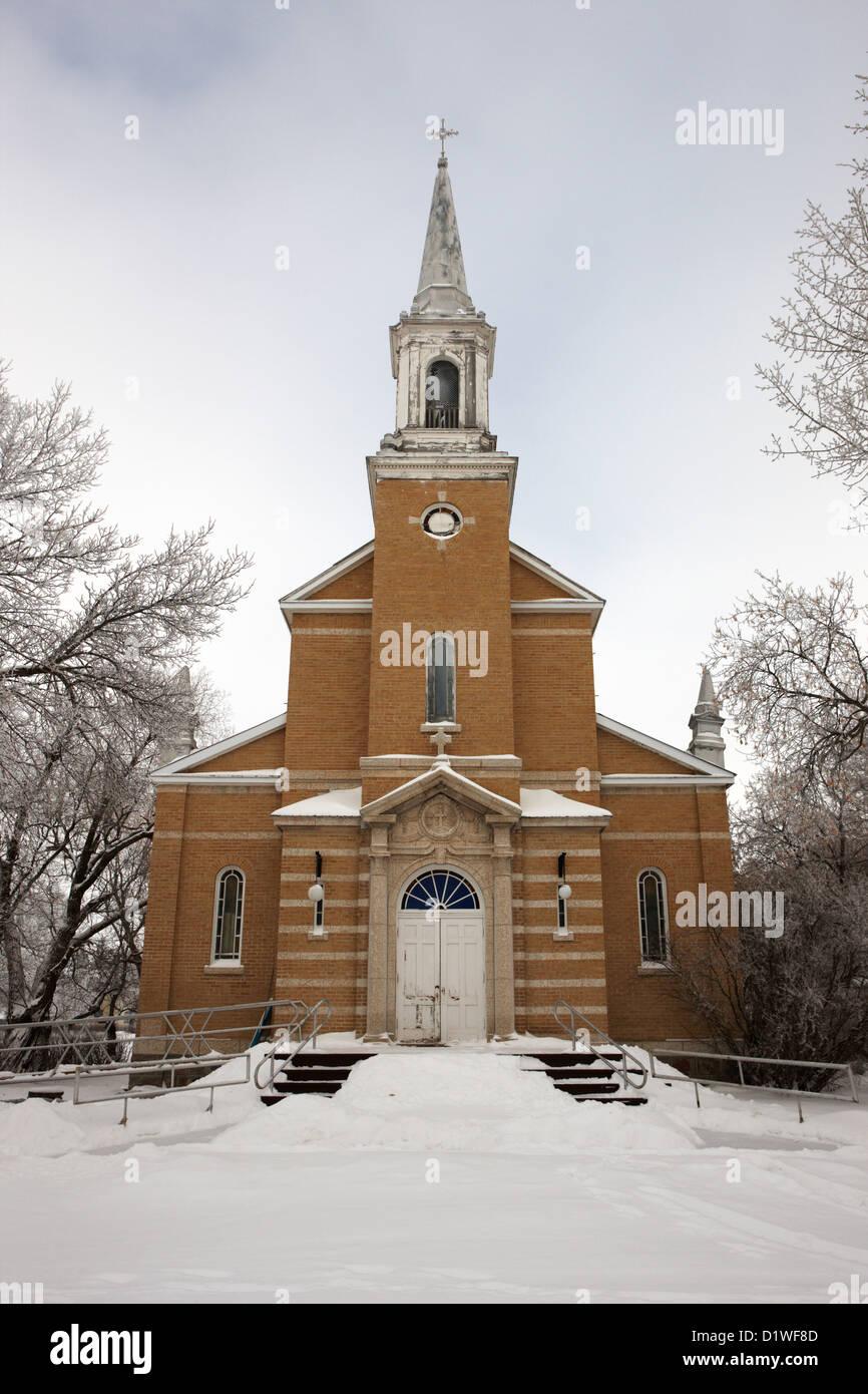 former st josephs catholic church in Forget Saskatchewan Canada Stock Photo