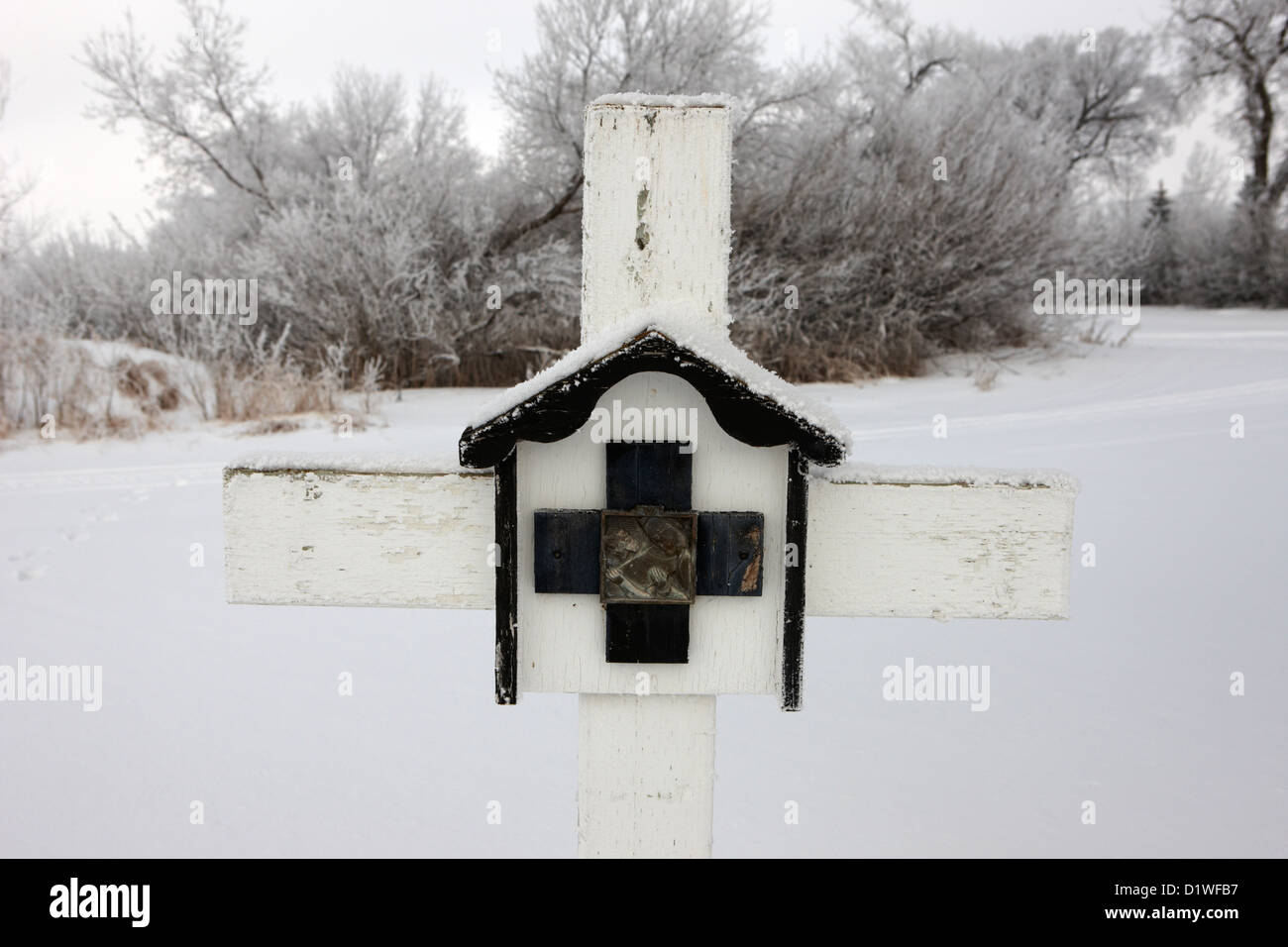 stations of the cross in a graveyard during winter in Forget Saskatchewan Canada - Stock Image