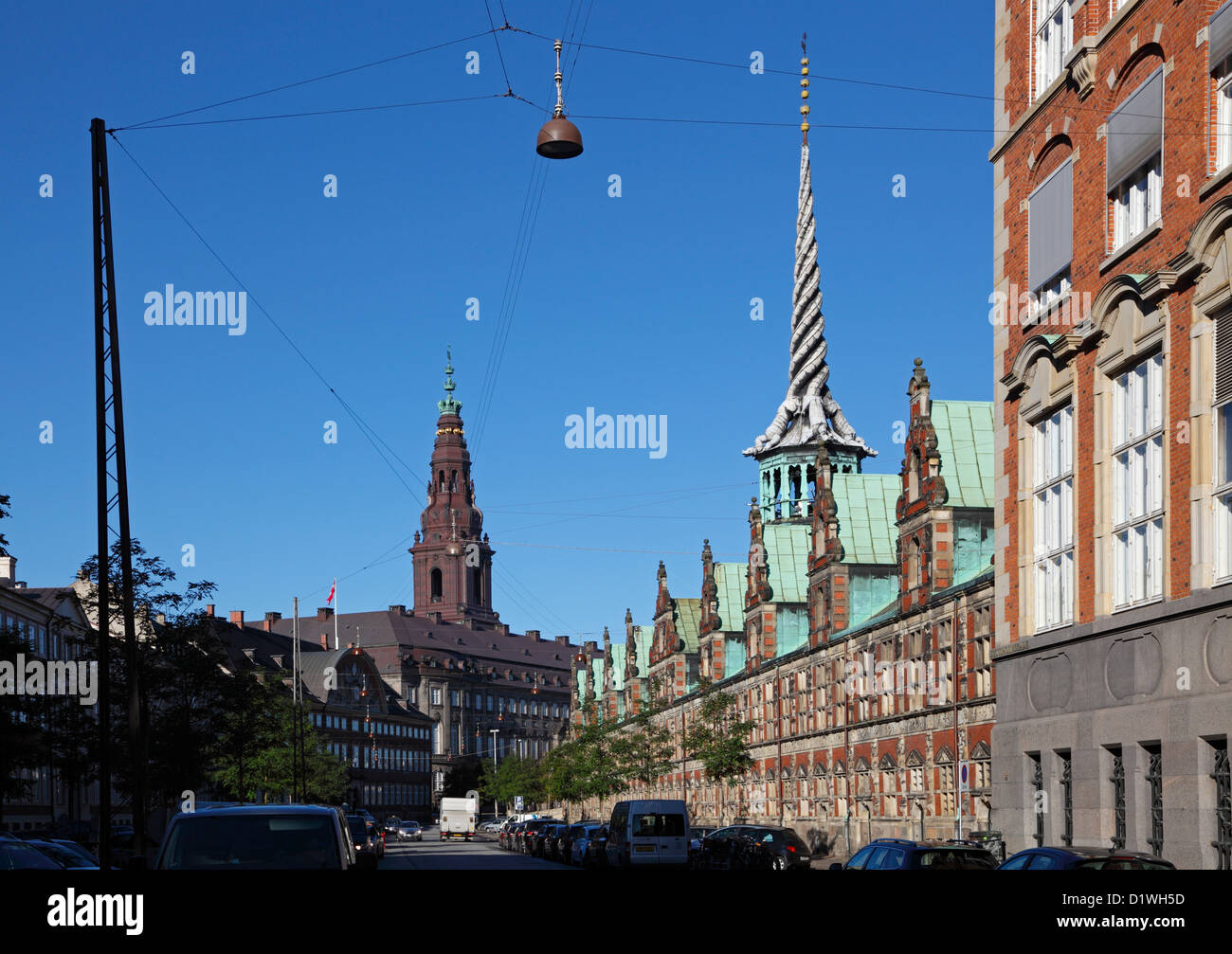 The old stock exchange, Børsen, in renaissance style and the tower of twisted dragon tails. Christiansborg - Stock Image