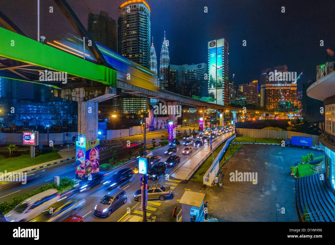 KL cityscape, Nighttime. Kuala Lumpur, Malaysia - Stock Image
