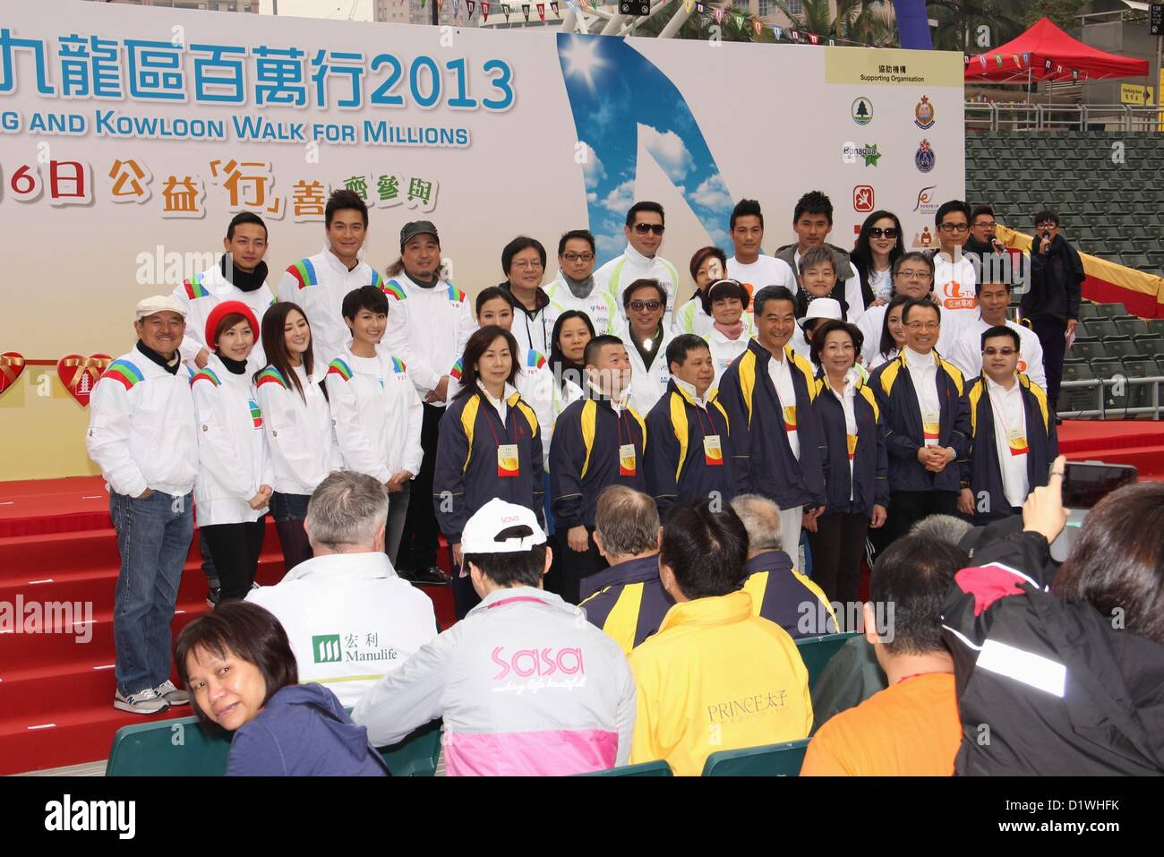 Leung Chun Ying, the chief executive of HKSAR, officiated charity activity 'Hong Kong and Kowloon Walk for Millions' - Stock Image