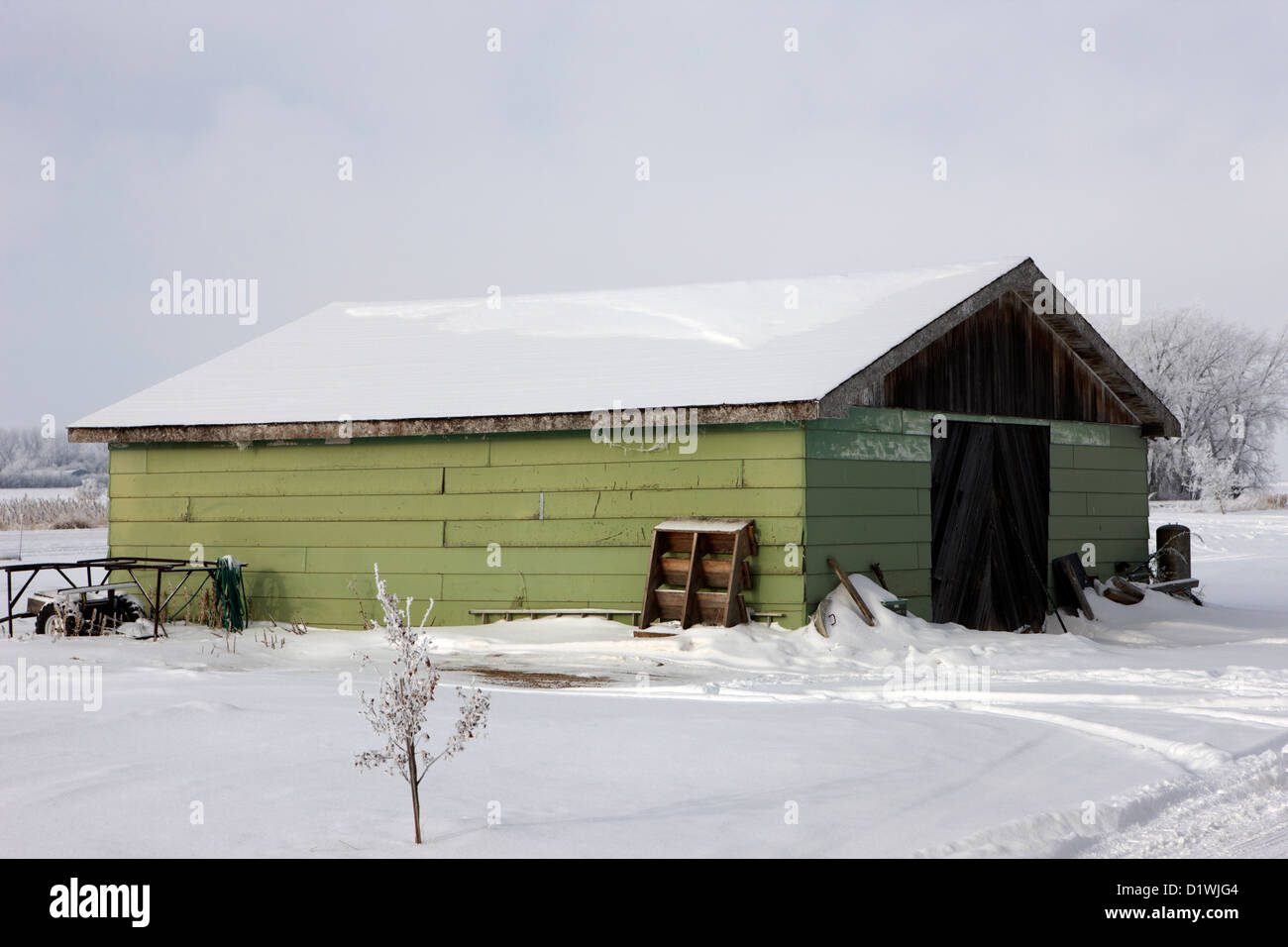 traditional wooden plank barn in rural village Forget Saskatchewan Canada - Stock Image
