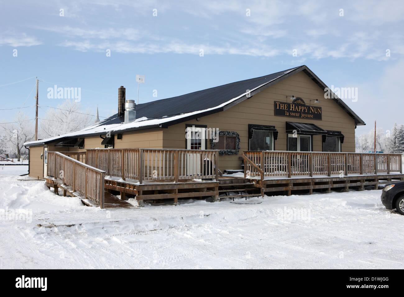 the happy nun cafe and music venue Forget Saskatchewan Canada - Stock Image