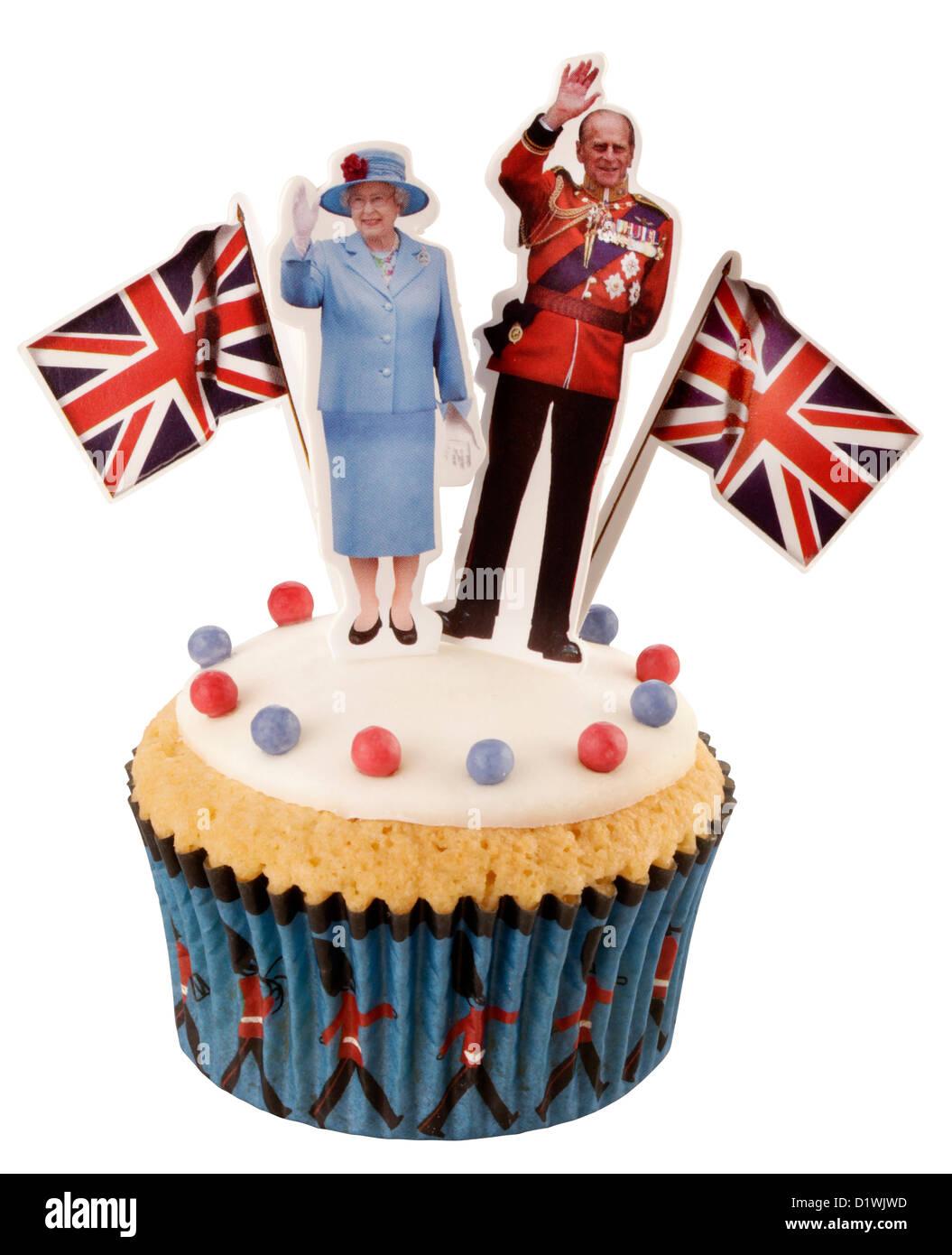 CUT OUT OF ROYAL BRITISH CELEBRATION CUPCAKE - Stock Image