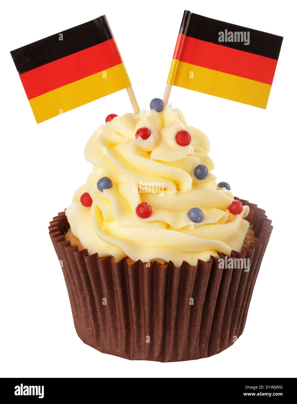 CUT OUT OF GERMAN FLAG CUPCAKE - Stock Image