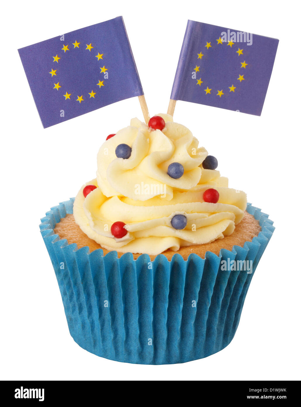 CUT OUT OF EUROPEAN UNION CUPCAKE - Stock Image