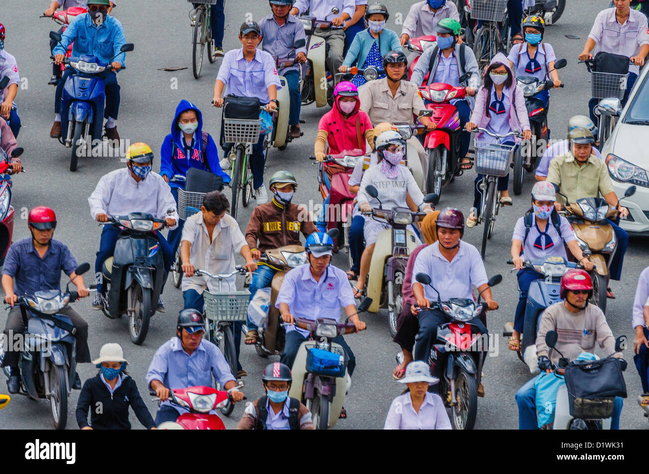 Vietnam, Ho Chi Minh City, busy traffic on roundabout, elevated view, - Stock Image