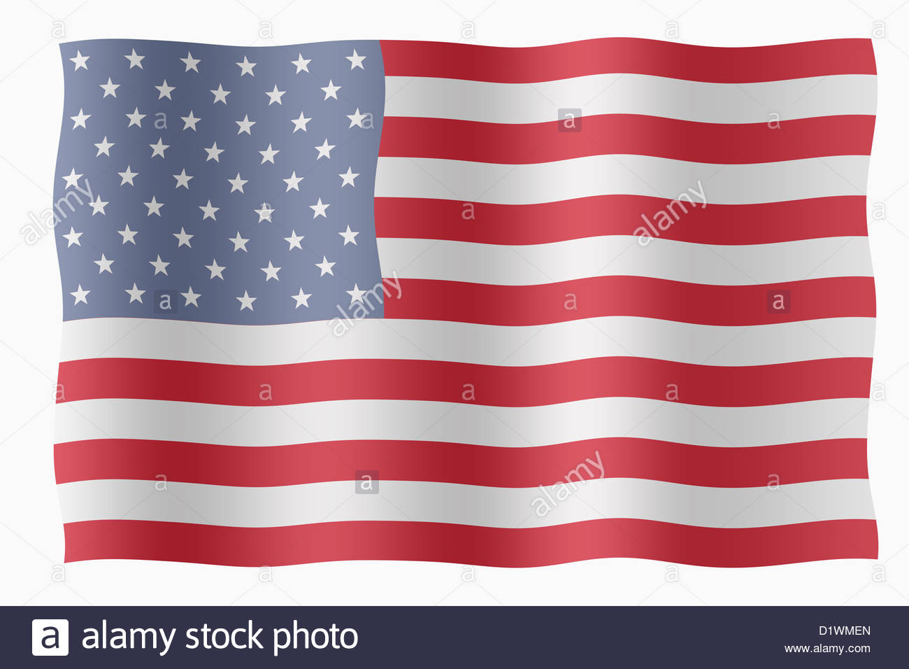 Digital Illustration - Stars and Stripes flag - Stock Image