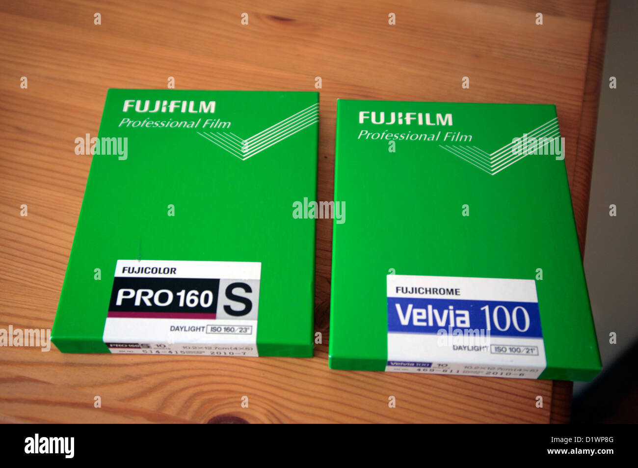2 boxes of Fuji large format film. - Stock Image
