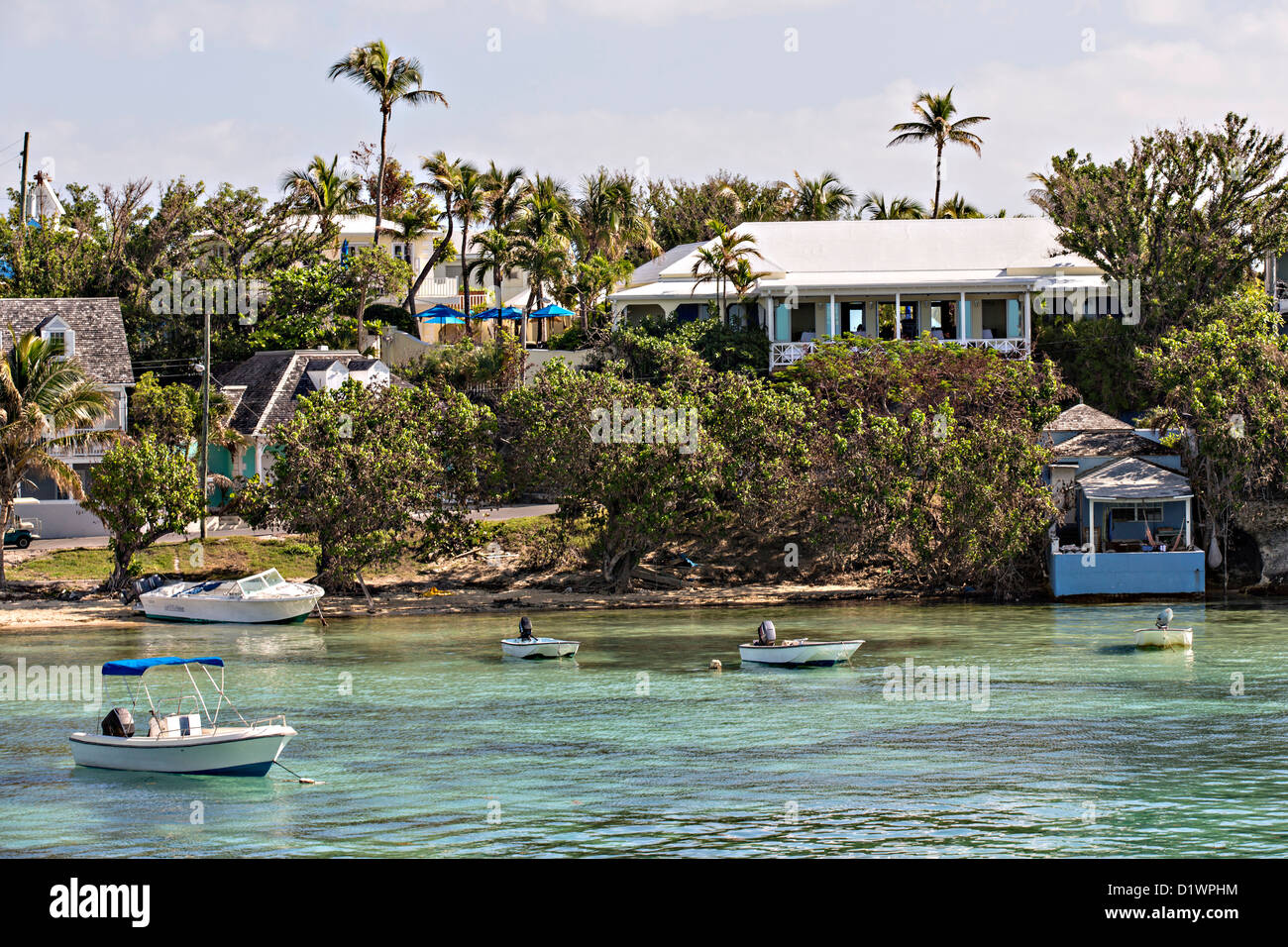 Homes in Dunmore Town, Harbour Island, The Bahamas. - Stock Image