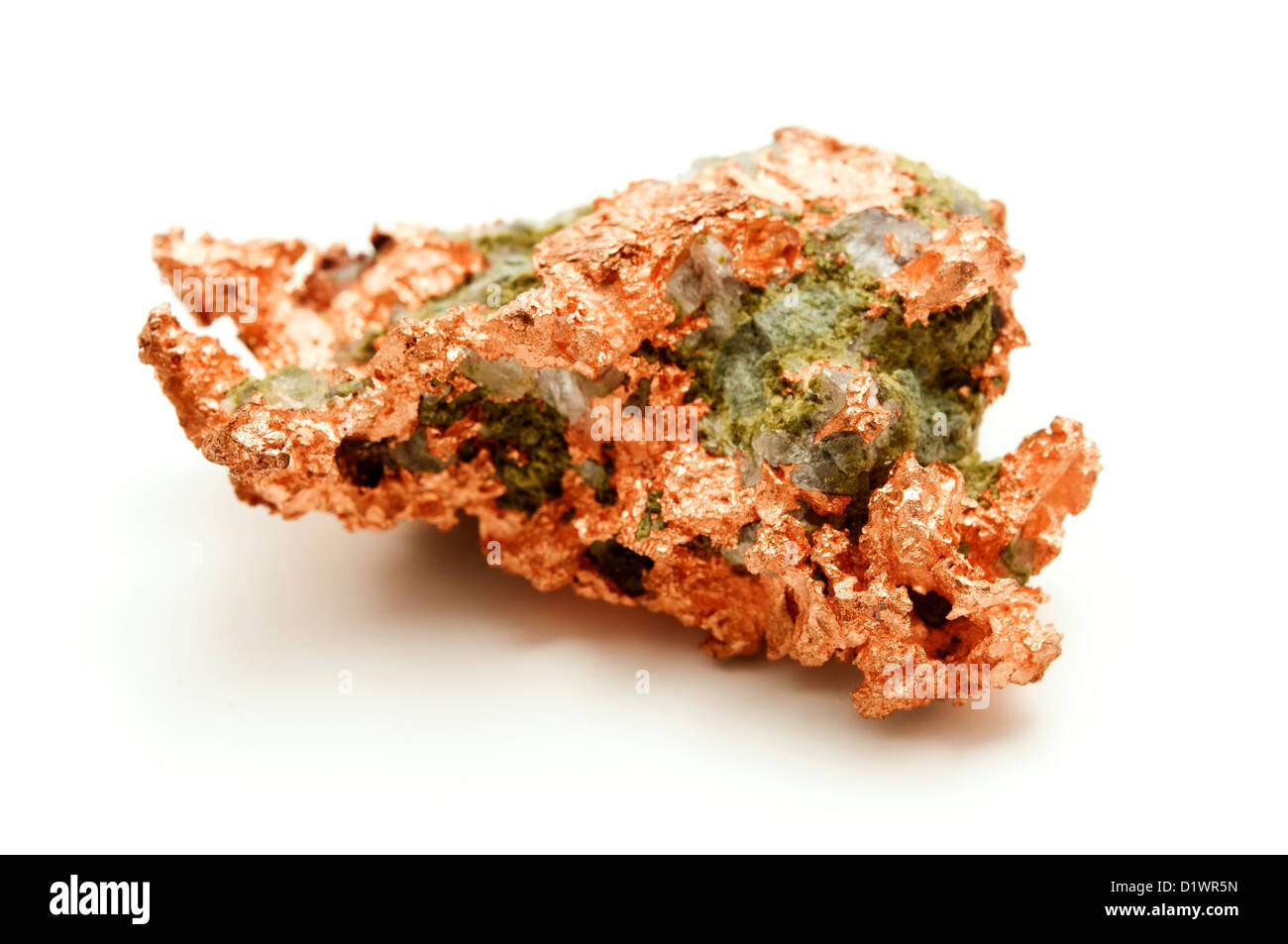 Native copper on a white background - Stock Image