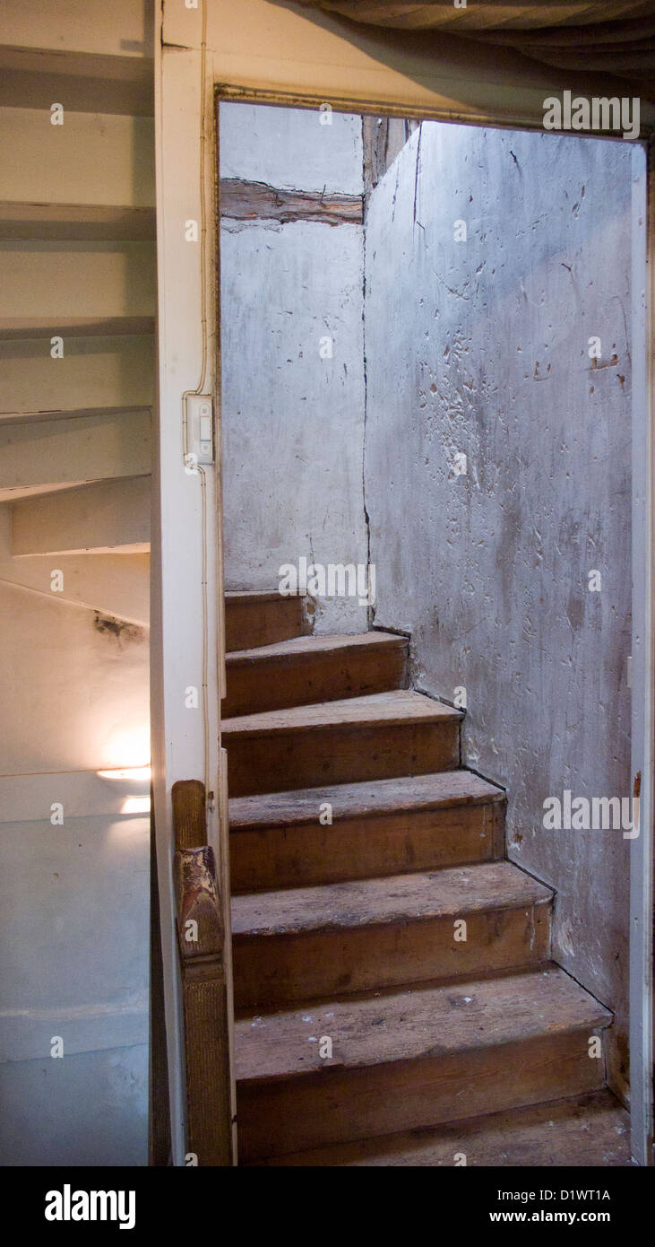 Old Stairwell, Wooden Stairs, Rough Plaster, French Farmhouse