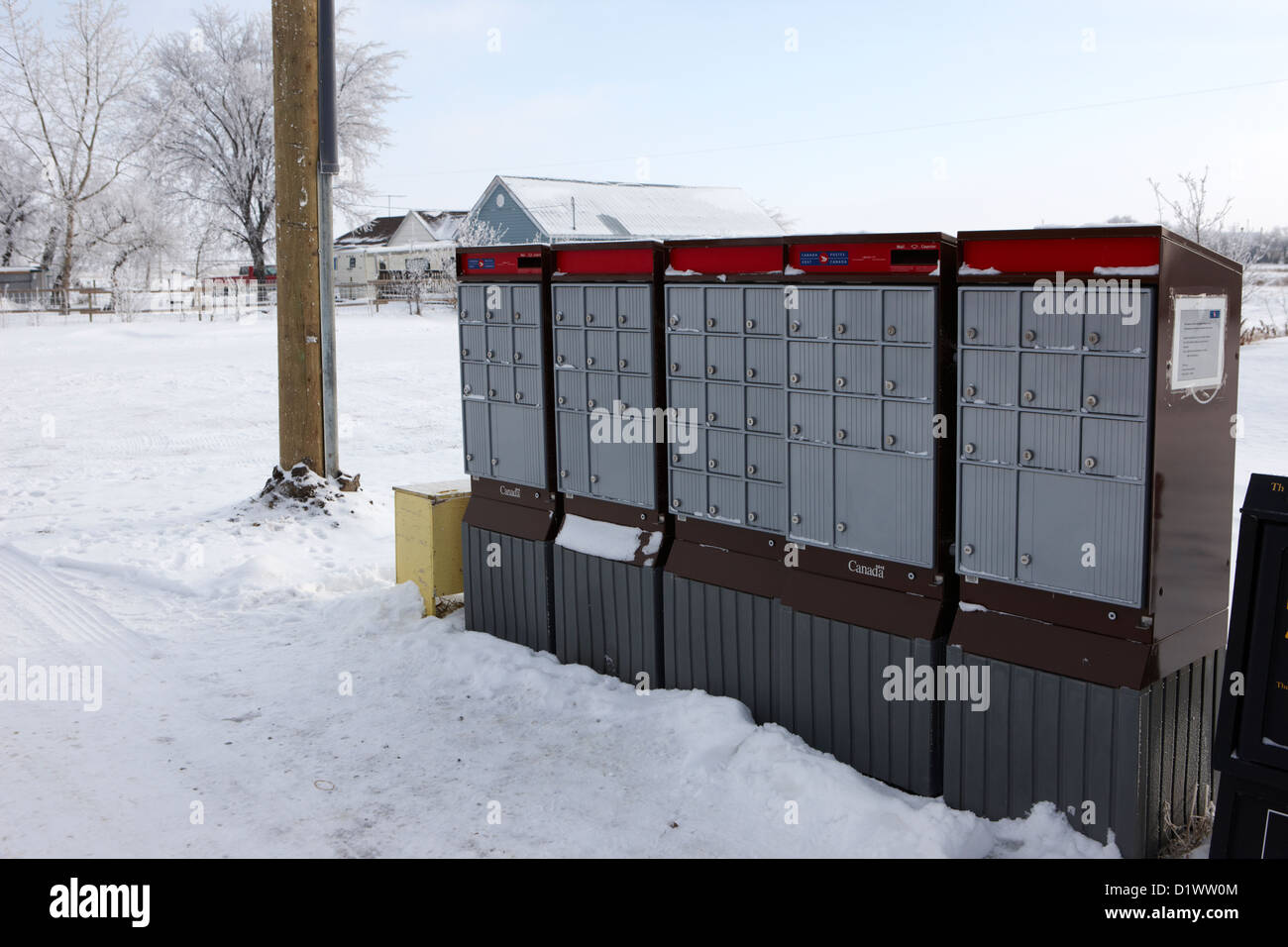 canada post post mailboxes in rural small town Forget Saskatchewan Canada - Stock Image
