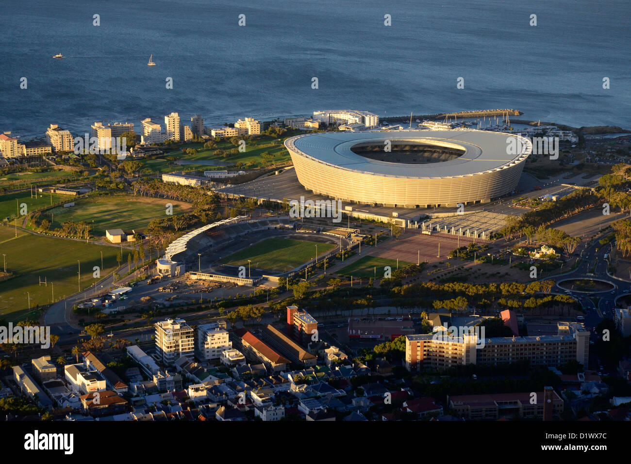 Aerial view of Greenpoint World Cup soccer stadium taken from Signal Hill. - Stock Image