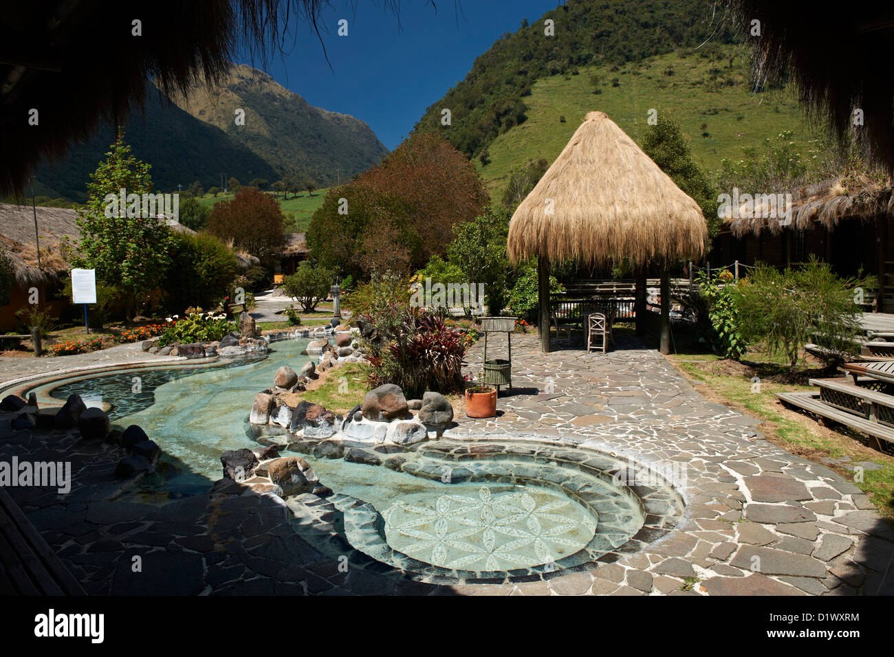 bath with hot springs in hotel of Papallacta, Andes, Ecuador - Stock Image