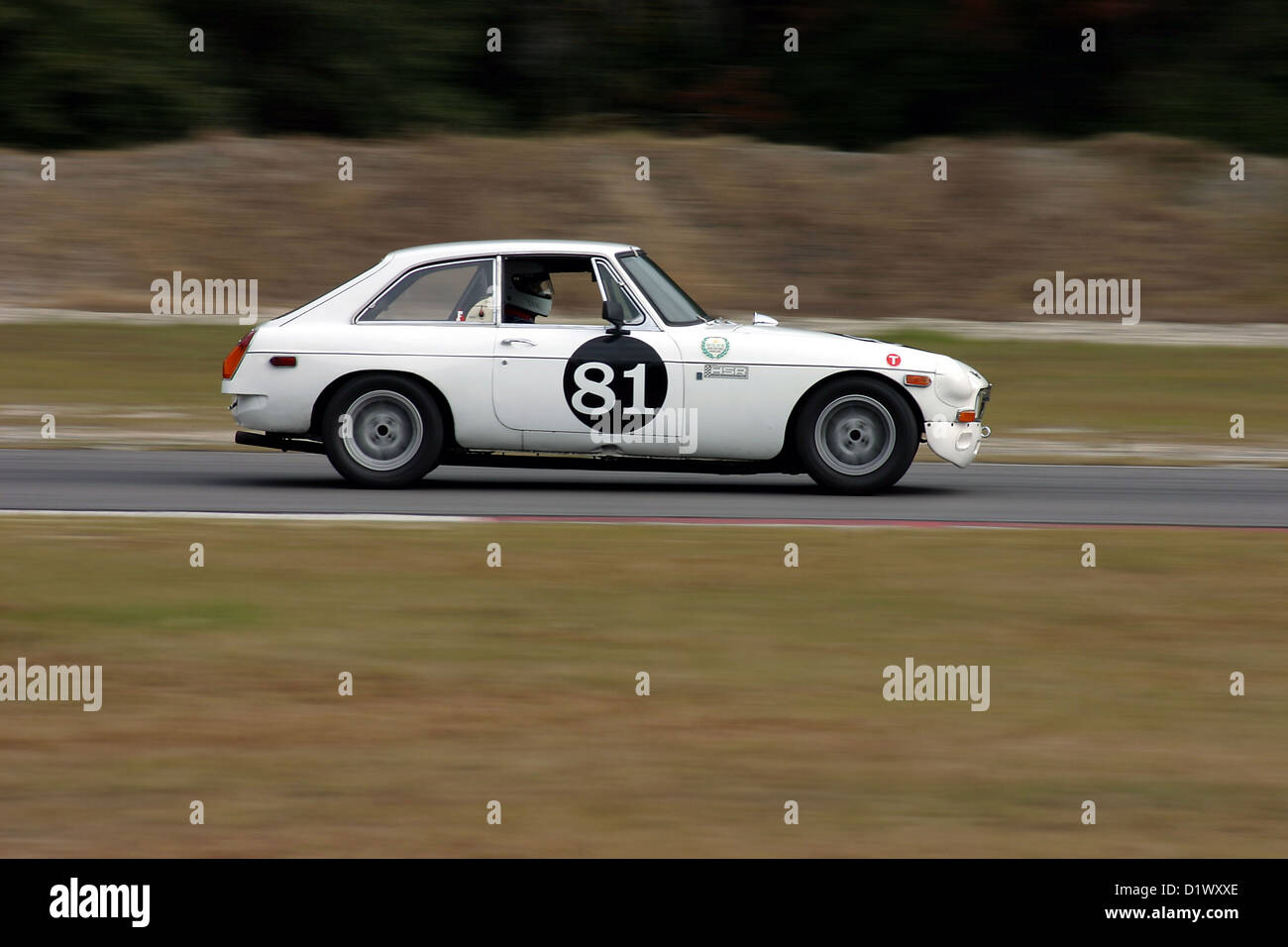 Vintage racing MGB during a VDCA event at Roebling Road Raceway ...