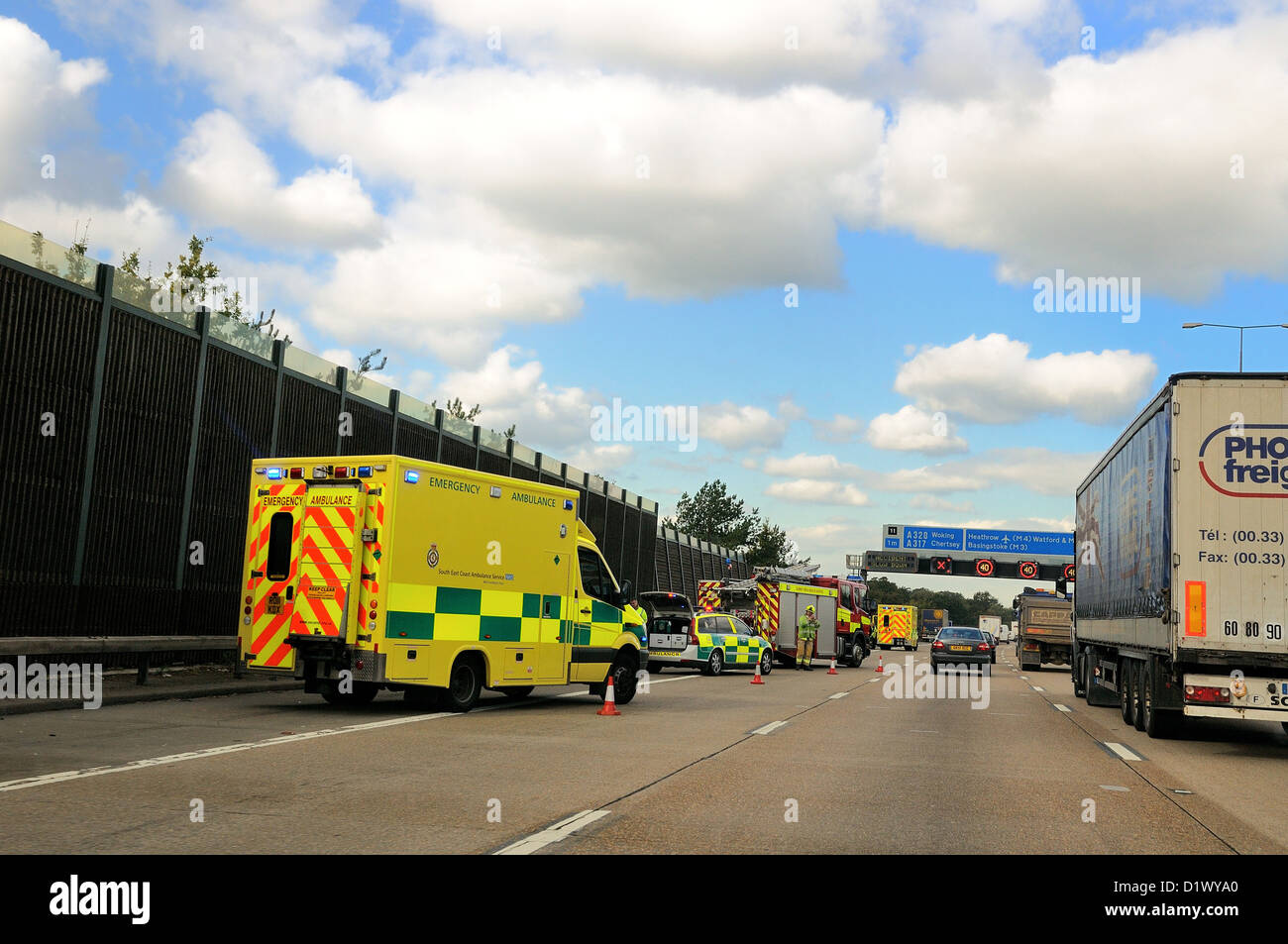 Traffic accident on the M25 motorway Chertsey Surrey Stock