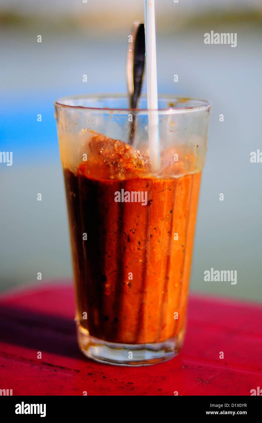 Vietnamese iced coffee - Ca phe sua da or cafe sua da - Stock Image