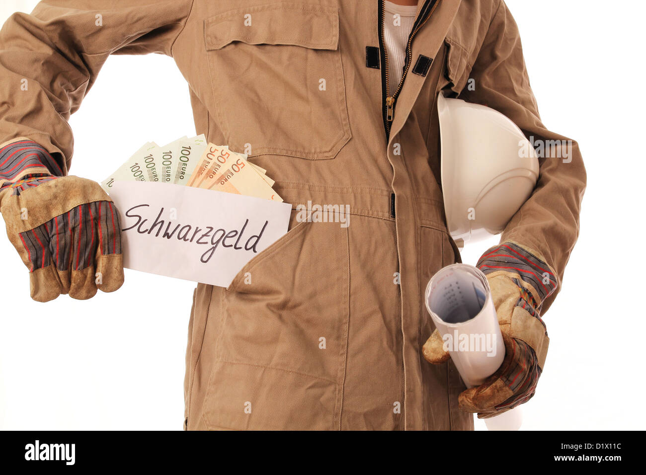 Construction worker with illegal money in his pocket - Stock Image