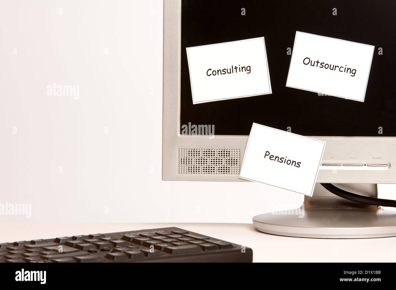 sticky notes on a computer monitor mentioning consulting outsourcing and pensions - Stock Image
