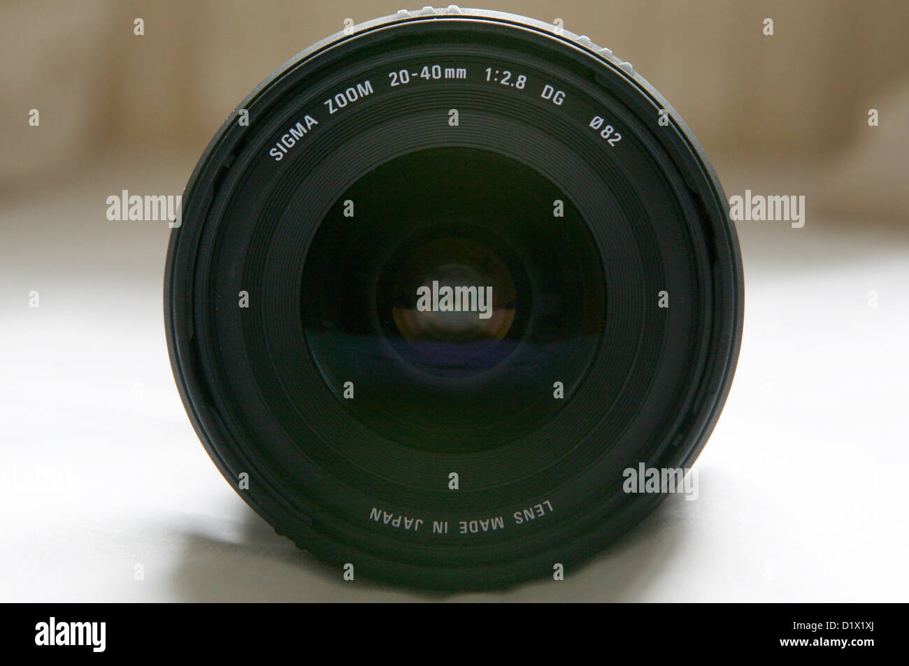 The front glass of a Sigma wide angle lens. Stock Photo