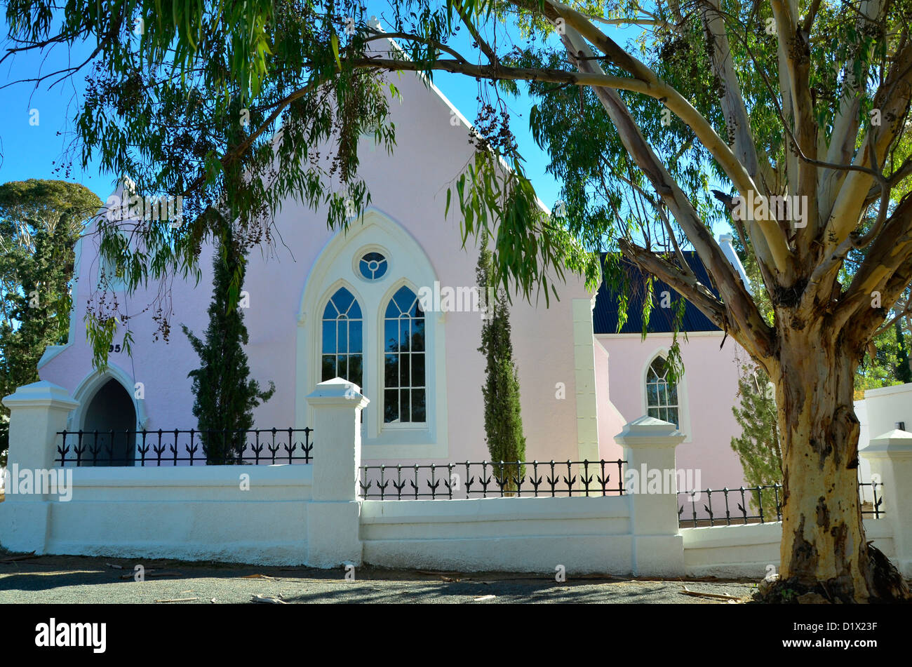 Old church under eucalyptus tree at historical Matjiesfontein in the Great Karoo, South Africa. - Stock Image