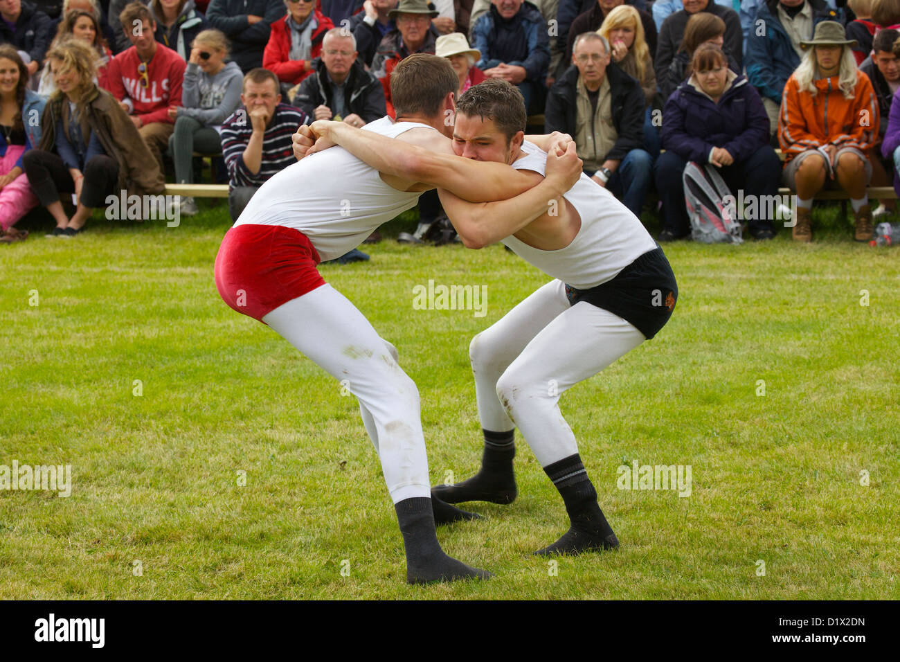 Cumberland & Westmorland Wrestlers in clinch, with crowd behind at Grasmere Lakeland Sports,Lake District National - Stock Image