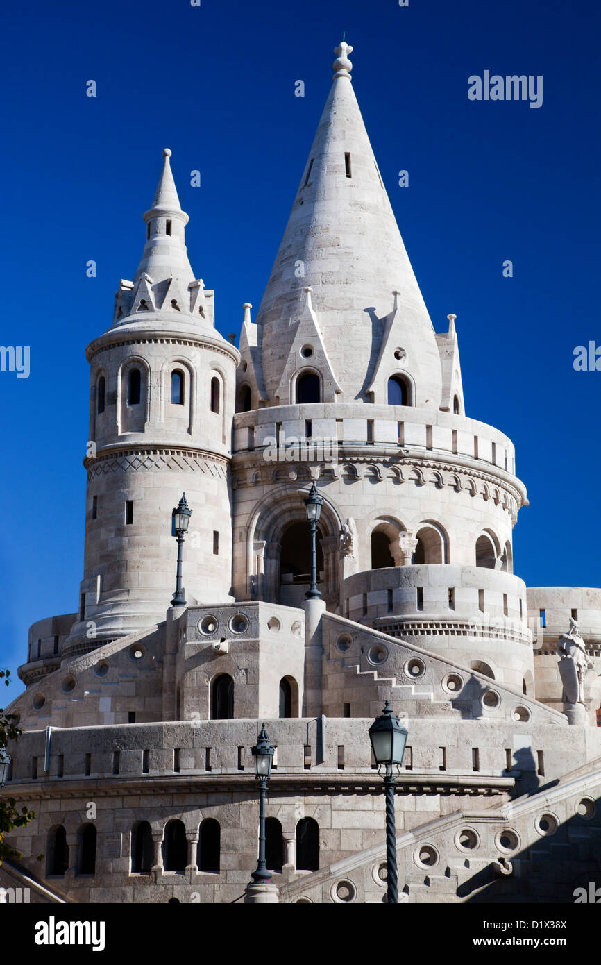 Fisherman's Bastion or Halaszbastya on the Buda Castle hill in Budapest, Hungary - Stock Image