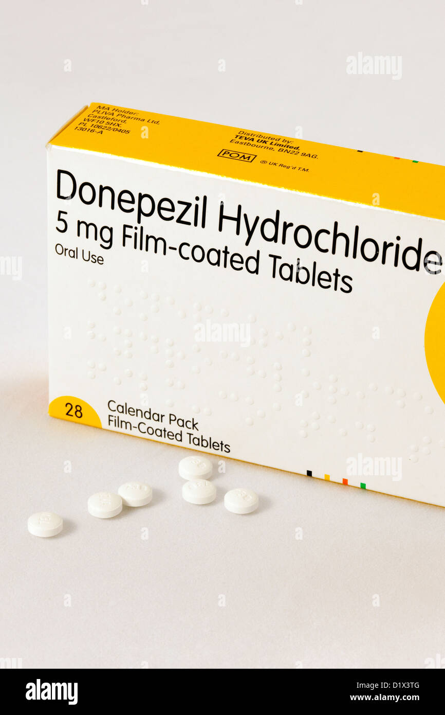 Alzheimers disease dementia treatment - Donepezil tablets, the commonest drug used in the UK - Stock Image