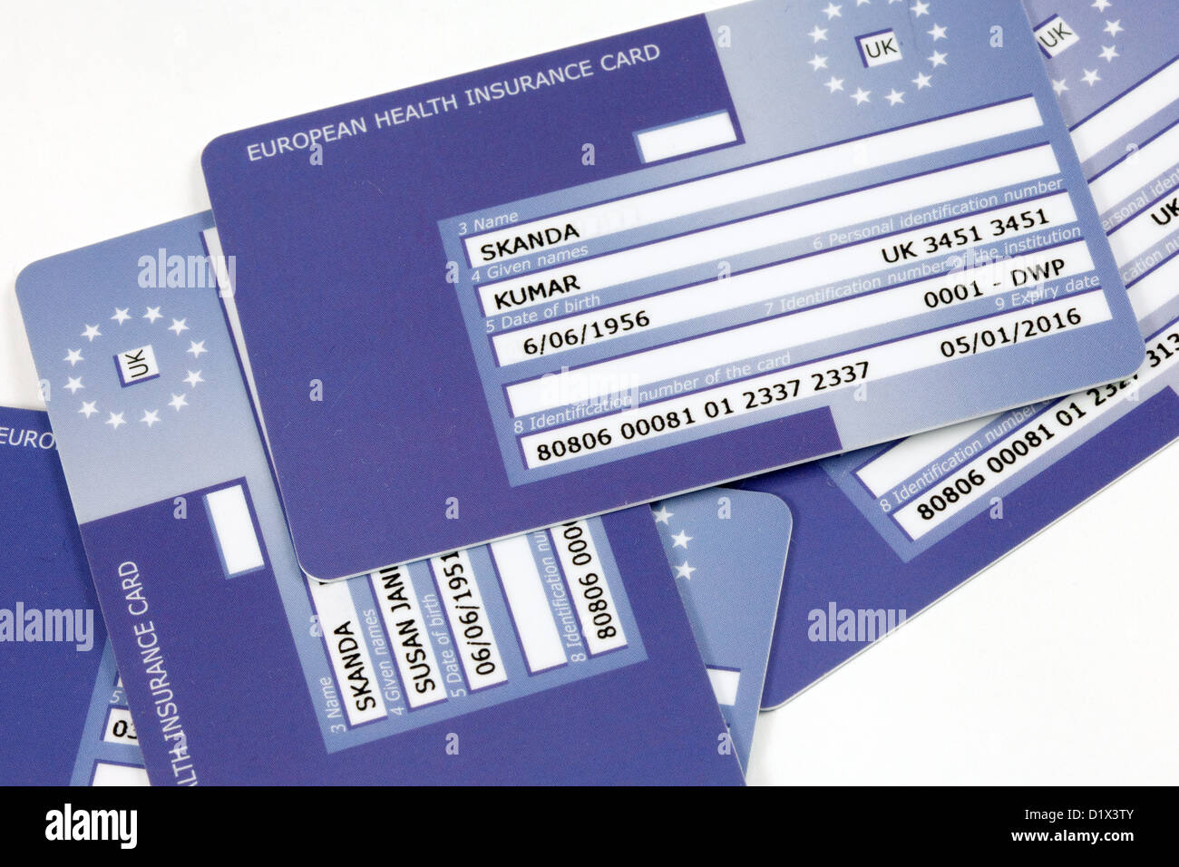 European Health Insurance cards or E111 card, in the UK - Stock Image