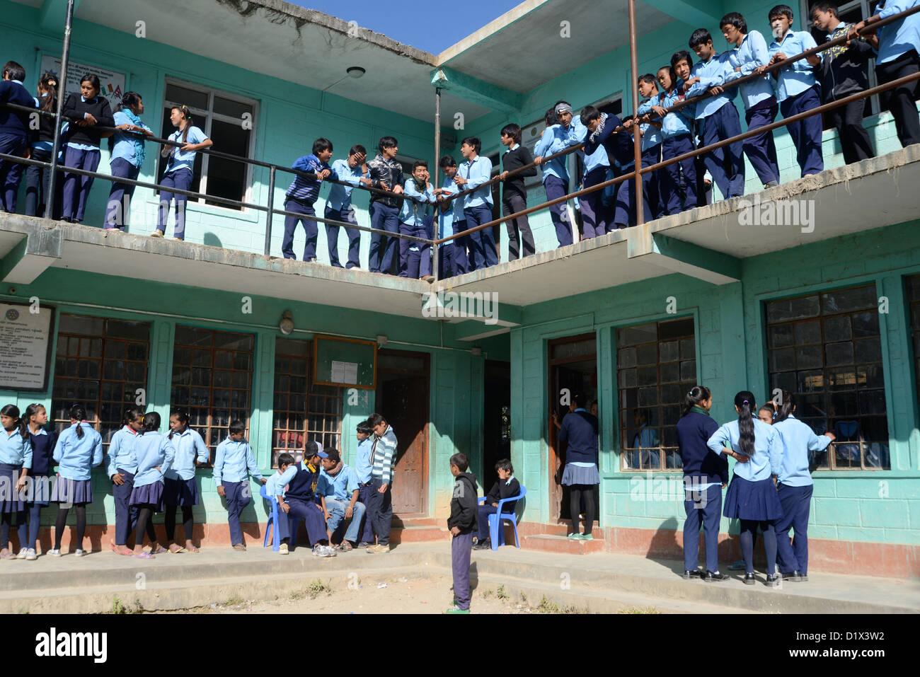 schoolchildren at school Nagarkot Nepal - Stock Image