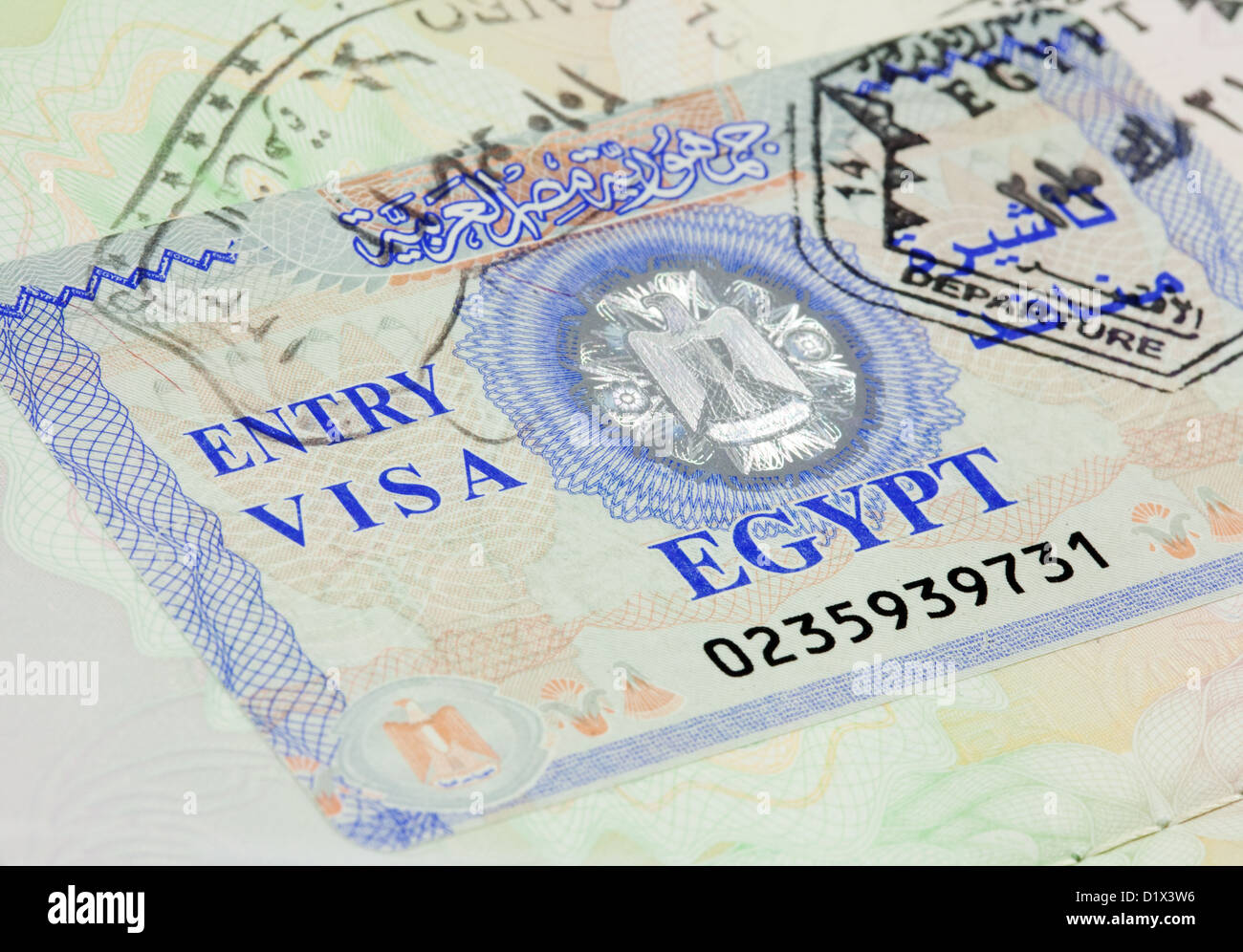 Egypt entry visa for holiday travel in a UK passport - Stock Image