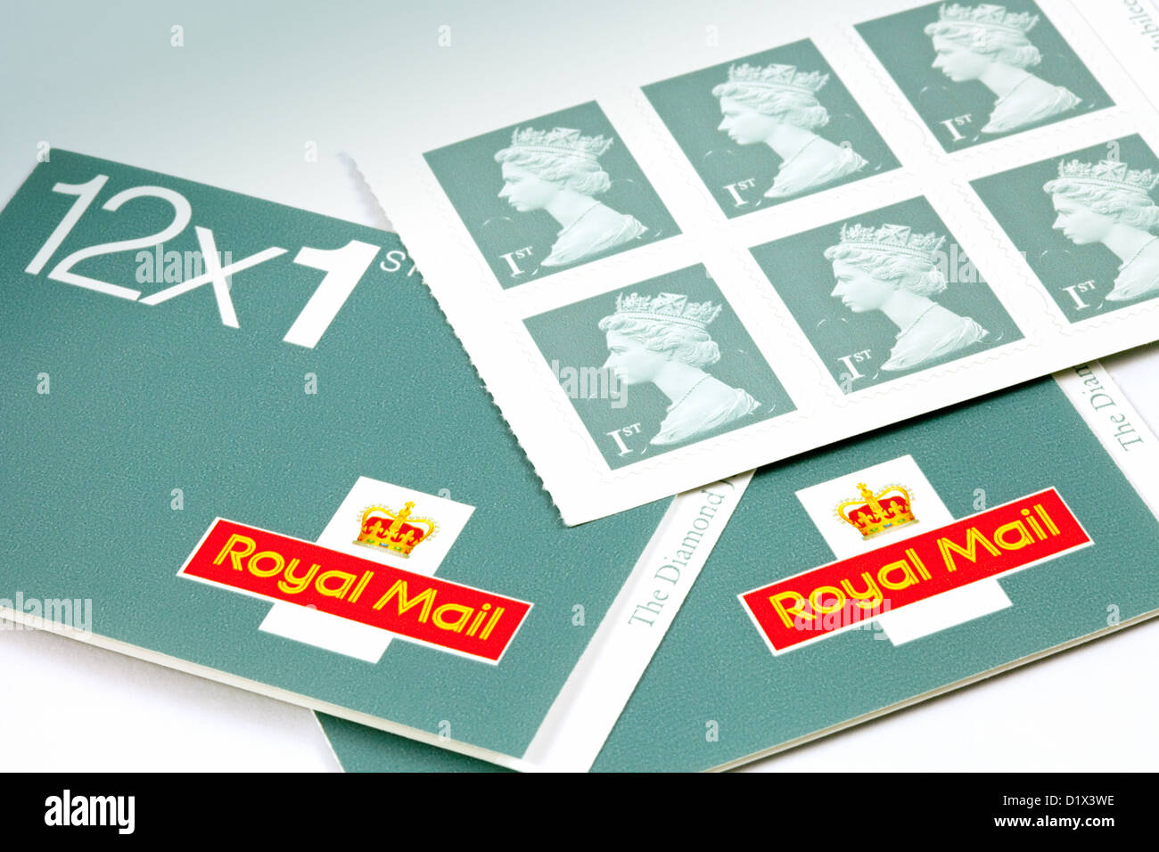 First class stamps for letter postage, new 2013 colour, england UK - Stock Image