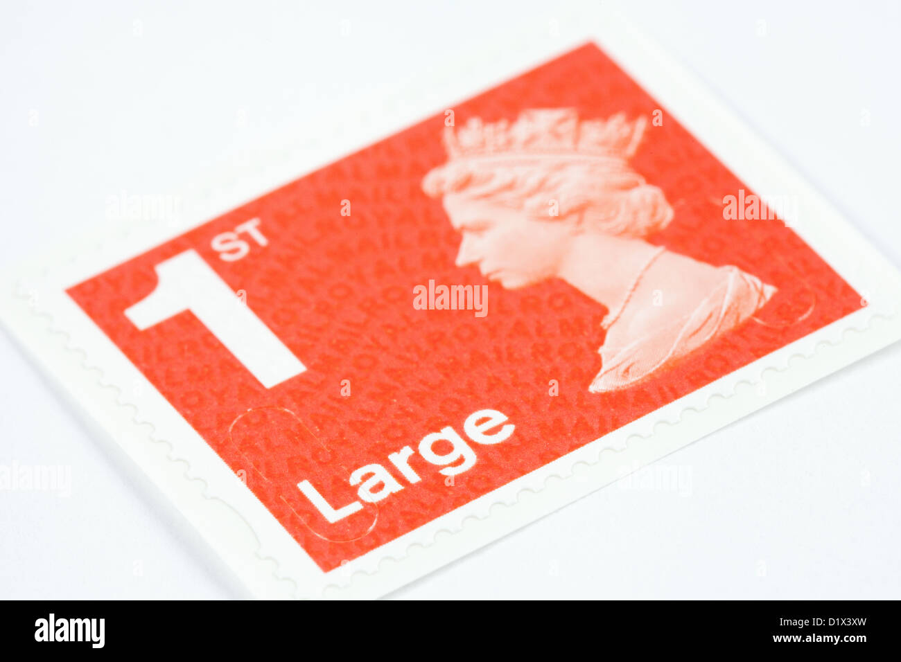 1st class large letter postage stamp for mail, new 2013 colour, UK - Stock Image