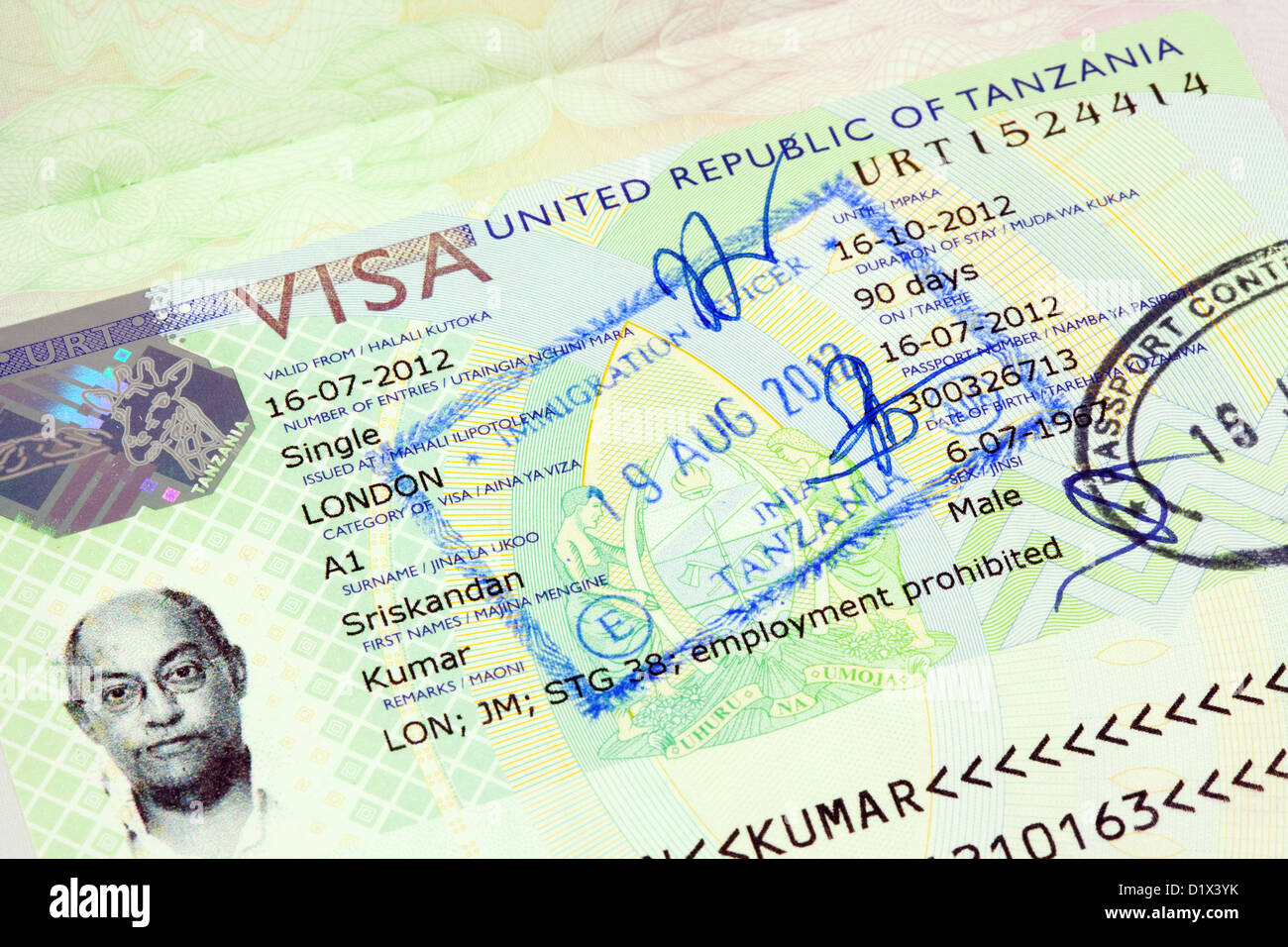 Tanzania visa for holiday travel entry in a UK passport, UK - Stock Image