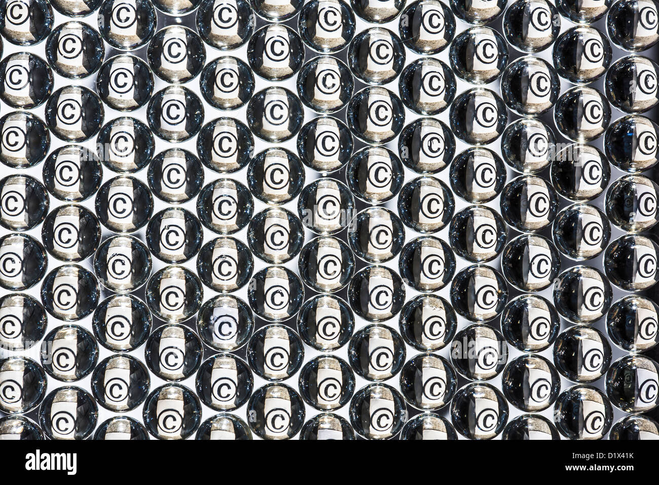 Copyright Symbol In Matrix Of Tiny Glass Balls Stock Photo 52819695