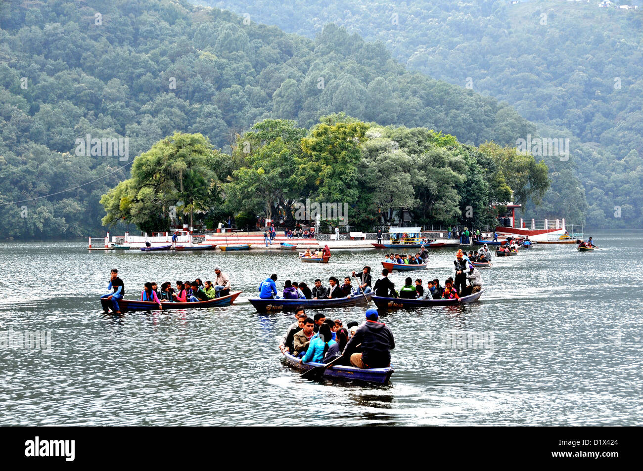 boating on Phewa lake Pokhara Nepal - Stock Image