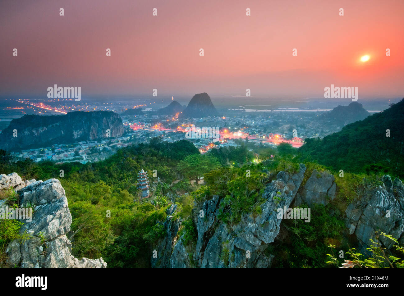 Sunset Looking down from summit. Thuy Son, Marble mountain (ngu hanh son), Vietnam - Stock Image