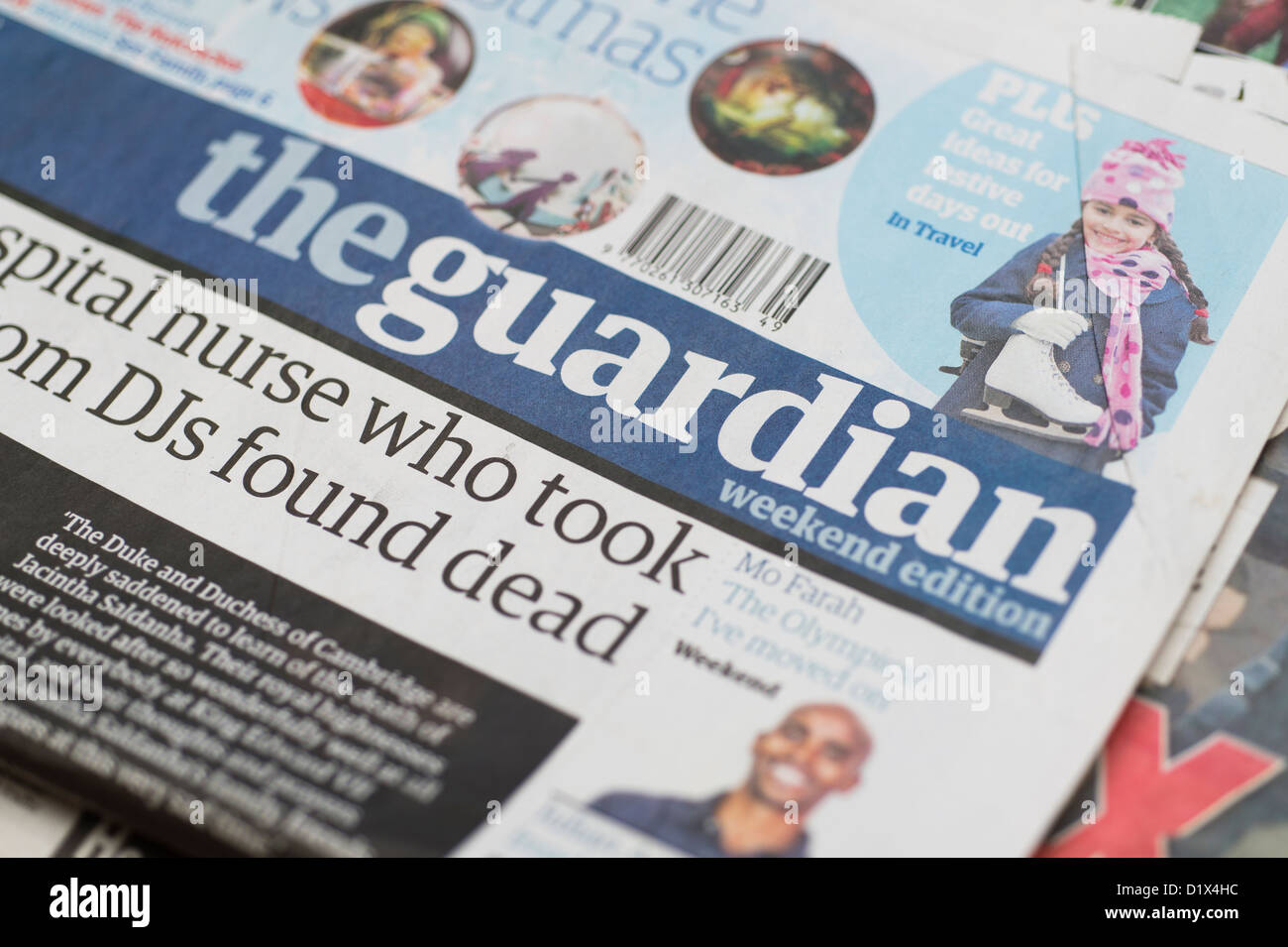 The front pages and mastheads of UK British English daily national newspaper The Guardian - Stock Image