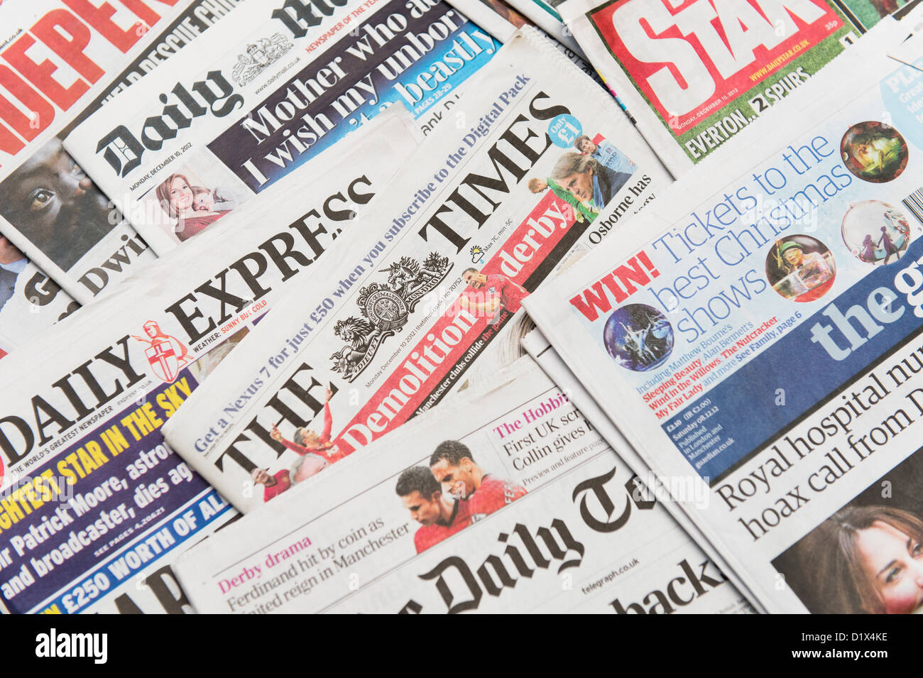 The front pages and mastheads of UK British English daily national newspapers - Stock Image