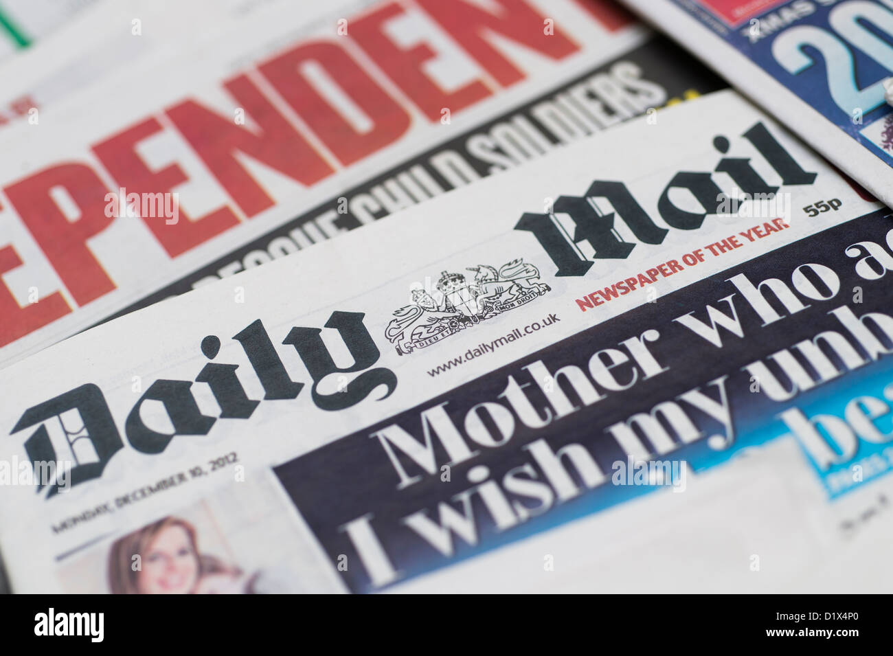 The front pages and mastheads of UK British English daily national newspaper The Daily Mail - Stock Image