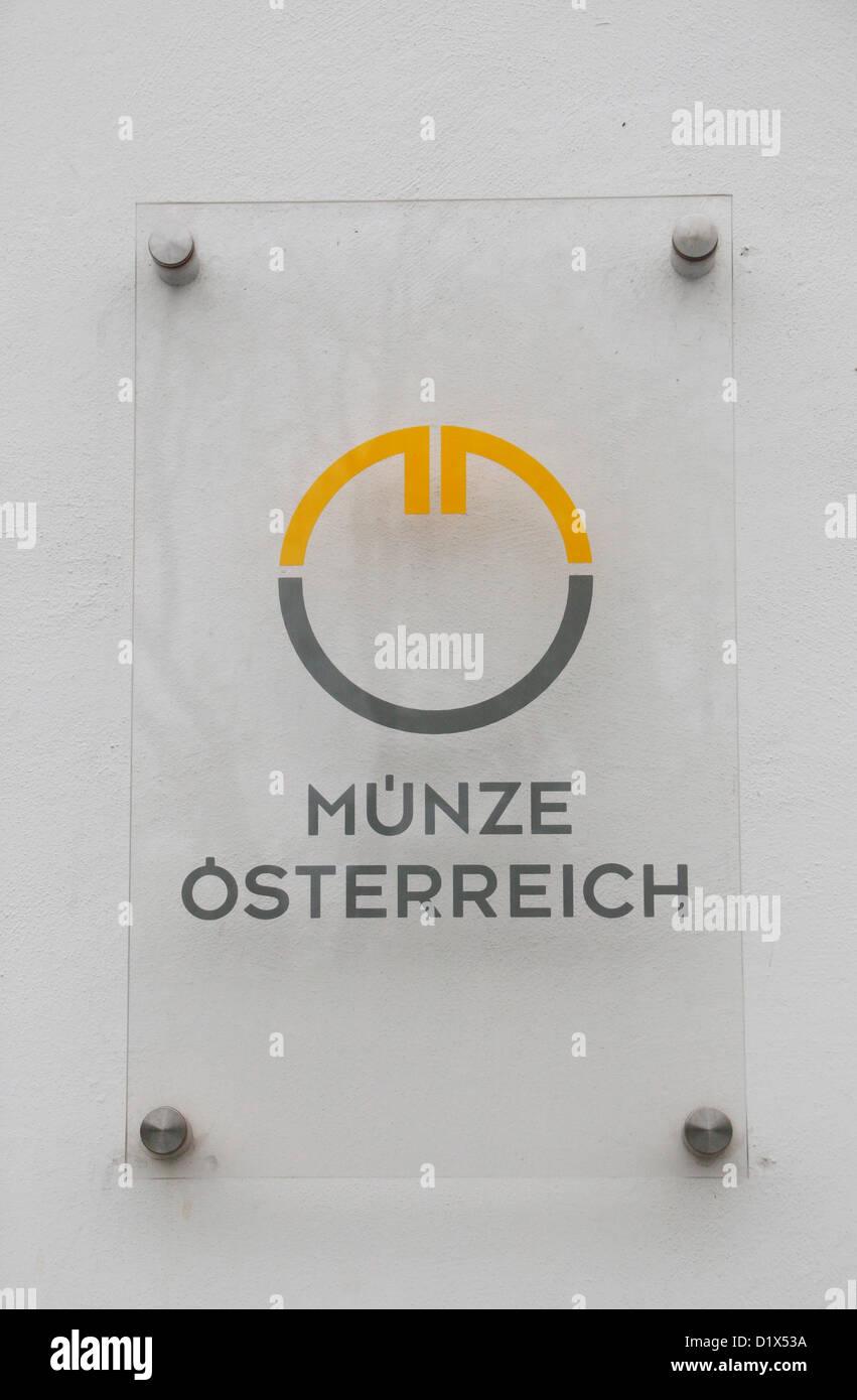 The Münze Österreich (Austrian Mint) logo at the Mint headquarters, Heumarkt in Landstrasse, Vienna, Austria. - Stock Image