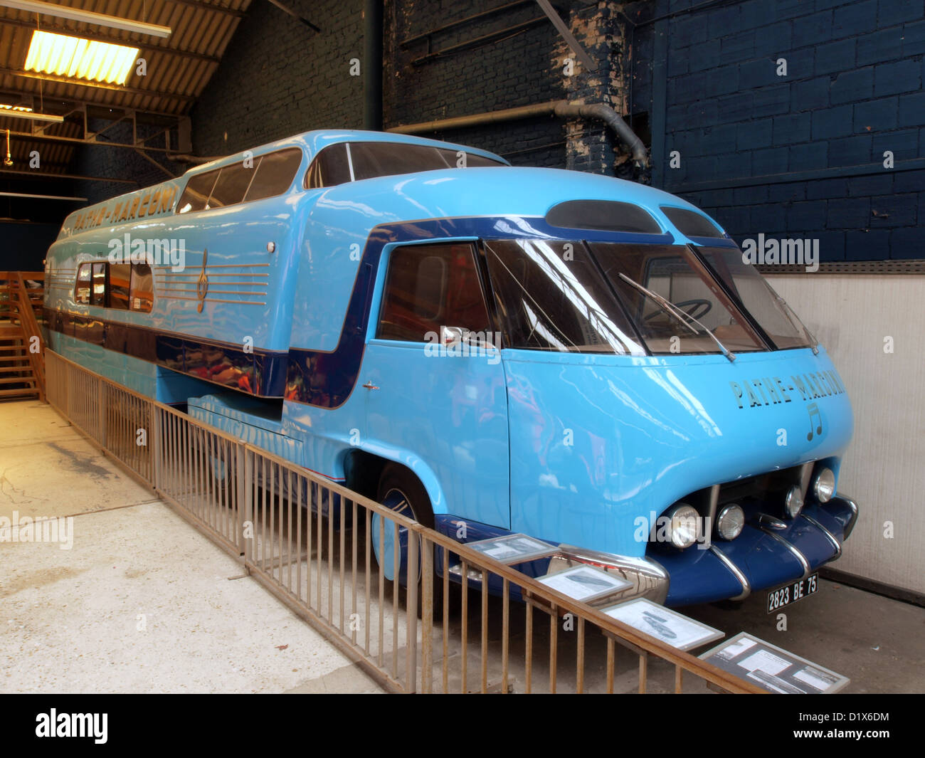 Automobile Museum Reims Champagne Pathé-Marconi bus - Stock Image