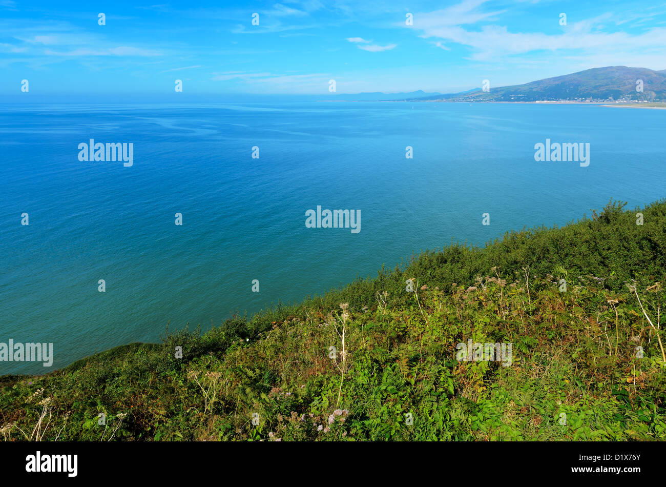 Cardigan Bay viewed from cliff above Barmouth in Gwynedd Wales. - Stock Image