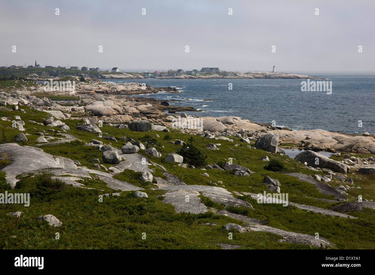 View towards Peggy's Cove from the site of the Swiss Air disaster memorial site - Stock Image