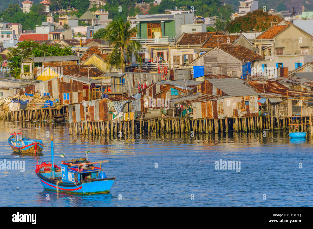 Fishing Boats in Nha Trang Harbor, Vietnam Stock Photo